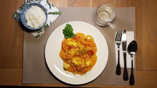 ah verspakket Indiase curry madras klaar vogelperspectief