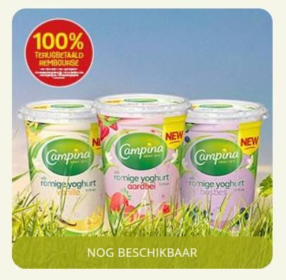 gratis een actieverpakking Campina Romige Yoghurt