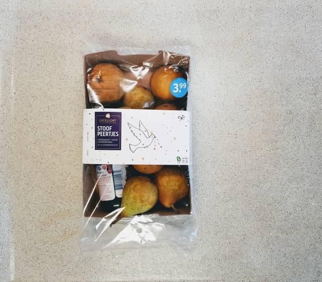 dessert verspakket voor stoofpeertjes van Albert Heijn verpakking