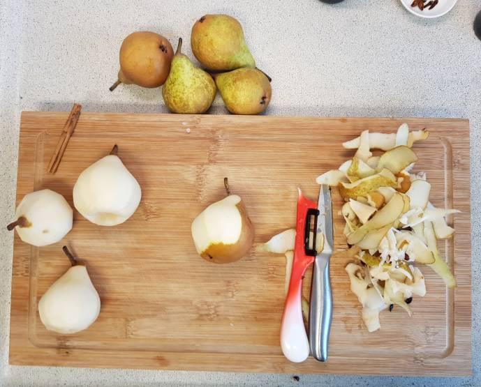 dessert verspakket voor stoofpeertjes Albert Heijn peertjes schillen