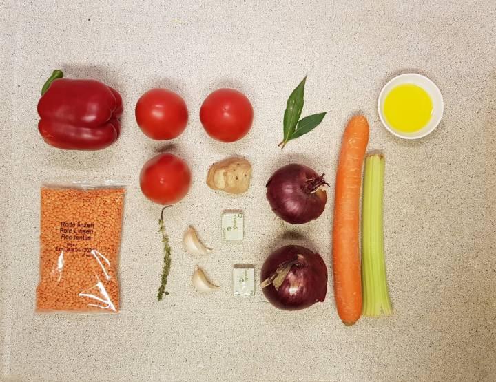 AH verspakket Rode linzensoep ingrediënten